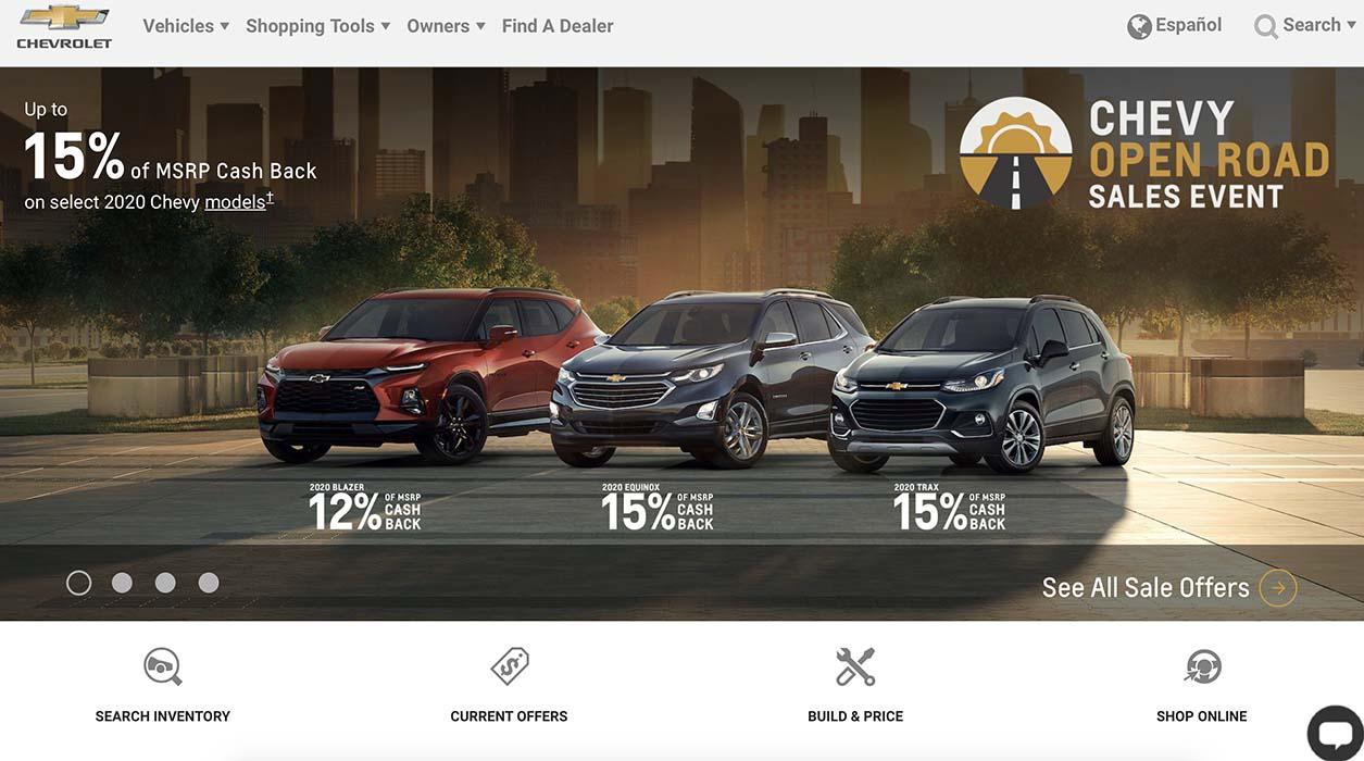 La web de Chevrolet destaca entre las marcas de ventas masivas.