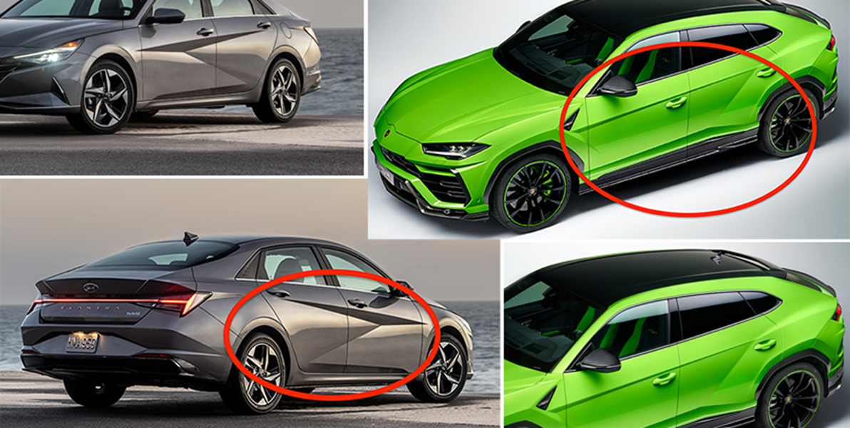 A la izquierda, el nuevo Elantra. A la derecha, el Lamborghini Urus.