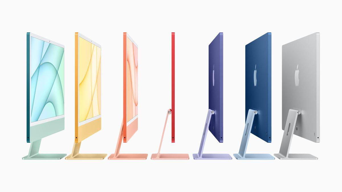 Los siete colores disponibles de la nueva iMacre memora a su versión más antigua, sólo que extremadamente más delgada.